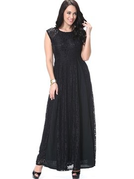 Ericdress Lace Patchwork Round Collar Sleeveless Maxi Dress