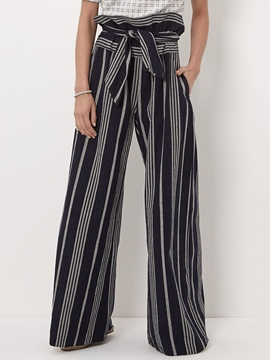 Ericdress Color Block Stripe Wide Legs Pants