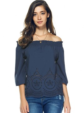 Ericdress Dark Blue Slash Neck Three-Quarter Blouse