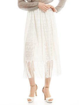 Ericdress Plain Tassel See-Through Pleated Skirt