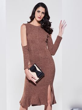 Ericdress Plain Cold Shoulder Mermaid Sweater Dress