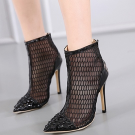 Ericdress Roman Lace Patchwork Rivets Point Toe High Heel Boots