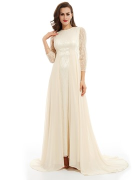 Ericdress A Line Long Sleeves Scoop Neck Floor-Length Evening Dress