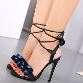 Ericdress Bullet Decorated Cross Strap Stiletto Sandals