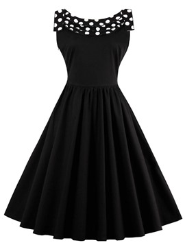 Ericdress Polka Dots Back Bowknot Patchwork Pleated Maxi Dress