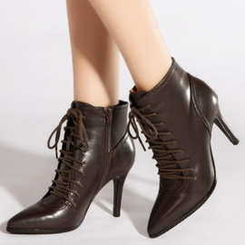 Ericdress Elegant Point Toe Lace up High Heel Boots