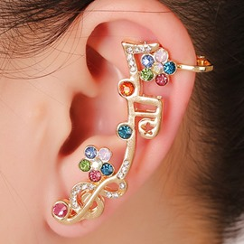 Ericdress Rhinestone Inlaid Musical Note Design Ear Cuff