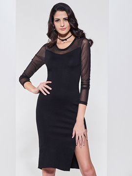 Ericdress Plain See-Through Split Bodycon Dress