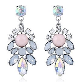 Ericdress Pink & Blue Acrylic Flower Pendant Earrings