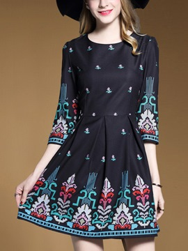 Ericdress Print Round Collar Pleated Above Knee Casual Dress
