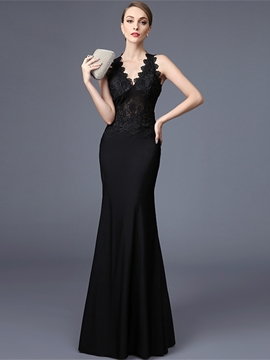 Ericdress Elegant V-Neck Lace Floor-Length Mermaid Evening Dress