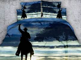 Cowboy on Horse Shadow Printed Cotton 3D 4-Piece Bedding Sets/Duvet Covers