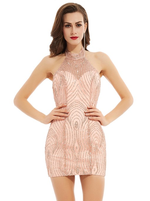 Ericdress Halter Neck Backless Sequins Short Bodycon Homecoming Dress
