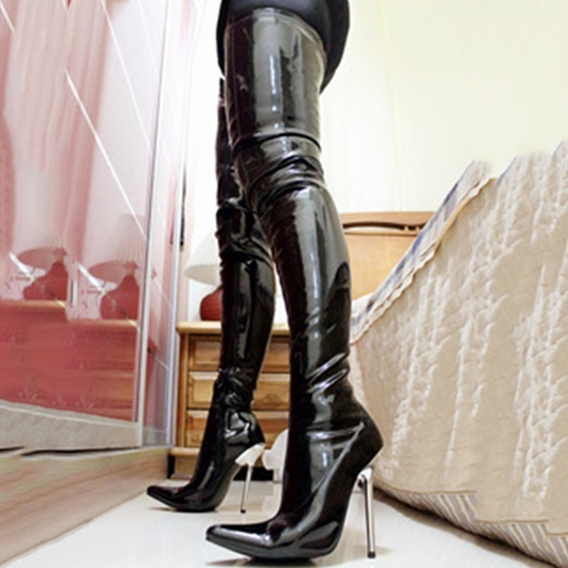 Ericdress Sexy Patent Leather Point Toe Thigh High Boots