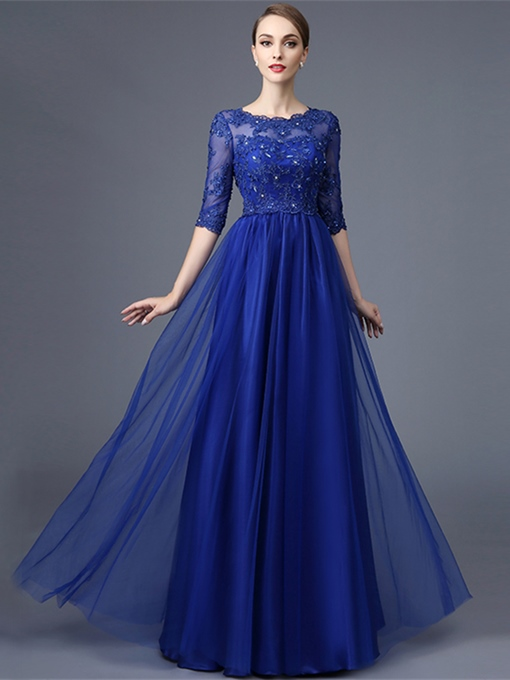 Ericdress A Line Half Sleeve Lace Beaded Long Evening Dress