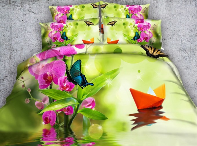 Phalaenopsis and Butterfly Printed Cotton 4-Piece 3D Bedding Sets/Duvet Covers