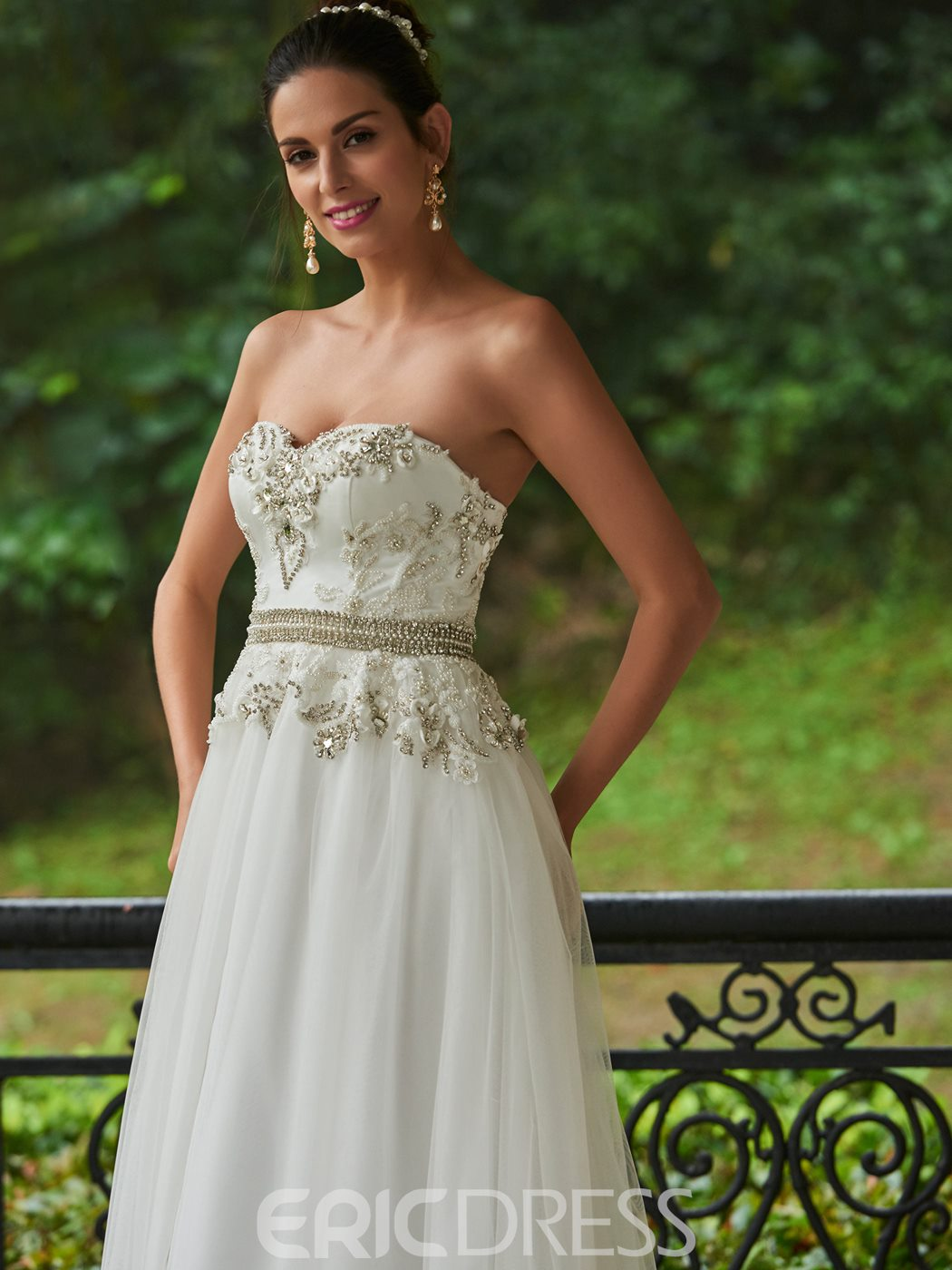 Ericdress Beautiful Beaded Floor Length Sweetheart A Line Wedding Dress