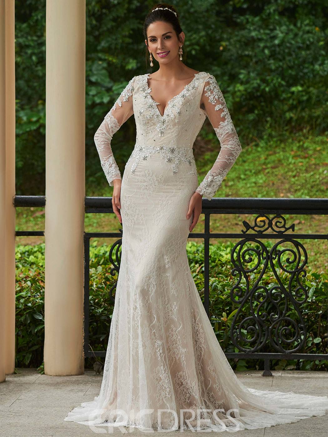 Ericdress Sexy V Neck Backless Beaded Lace Mermaid Wedding Dress