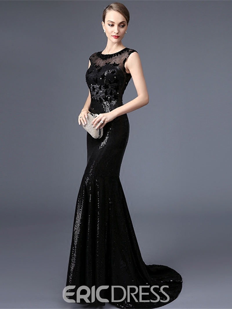 Ericdress Cap Sleeves Beaded Lace Sequins Mermaid Evening Dress With Court Train