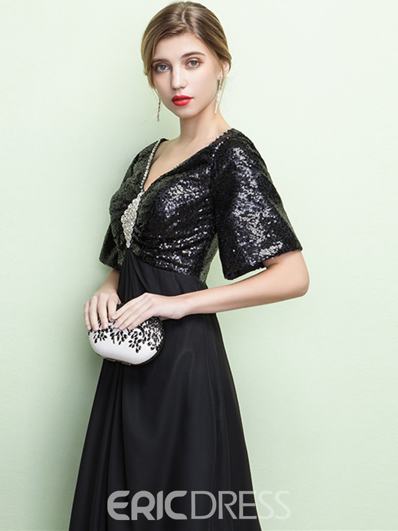 Ericdress A-Line Short Sleeves Beading Crystal Sequins Floor-Length Evening Dress