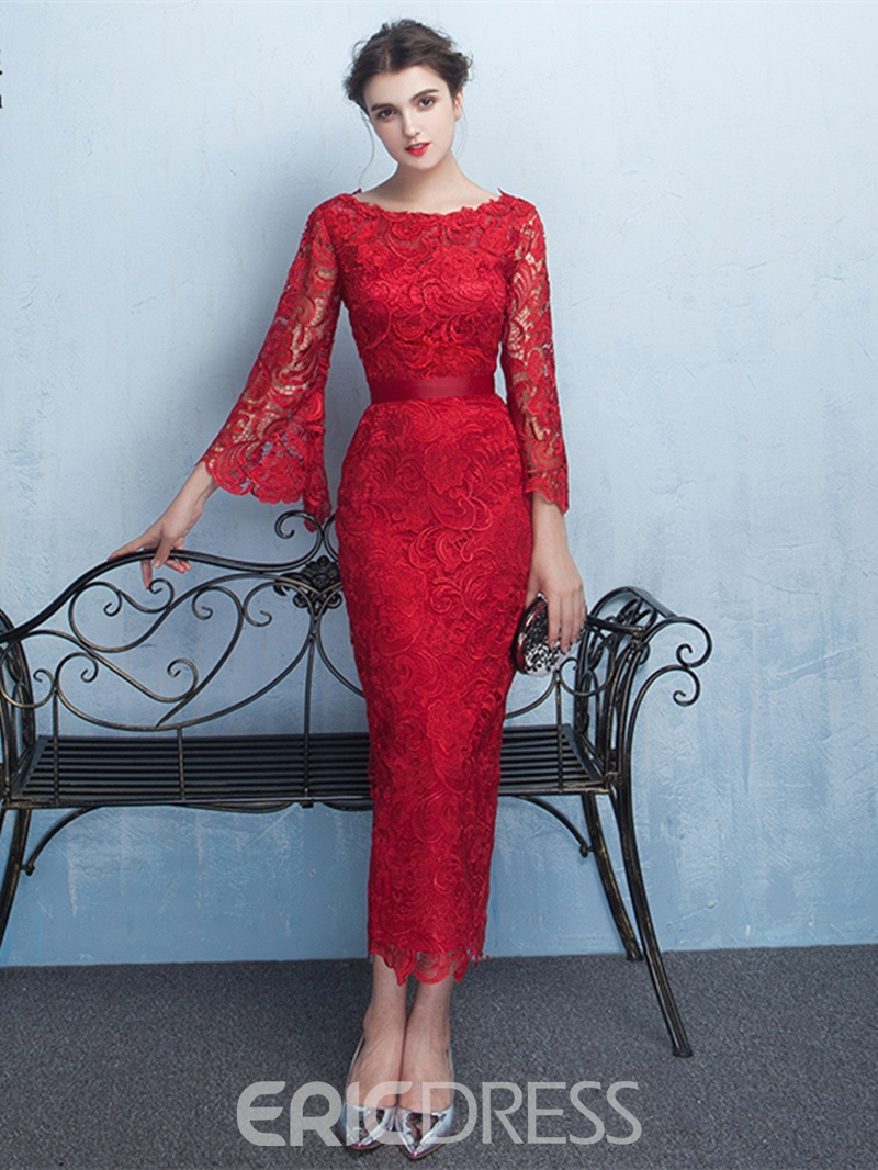 Ericdress Stylish Sheath Bateau 3/4 Length Sleeves Lace Evening Dress