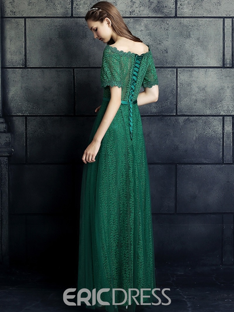 Eridress Off-the-Shoulder A-Line Short Sleeves Bowknot Lace Sashes Evening Dress