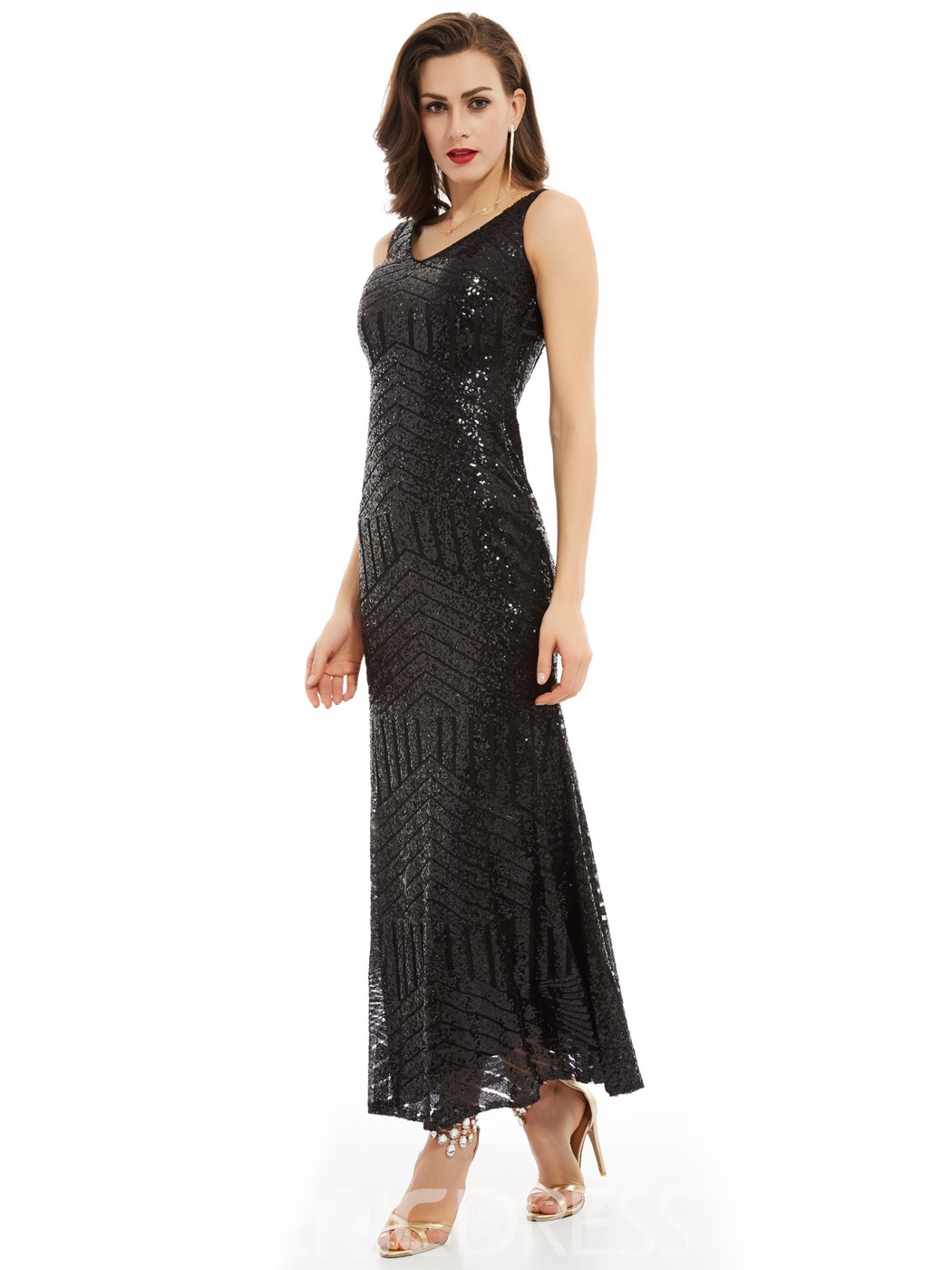 Ericdress V Neck Sequins Ankle-Length Evening Dress