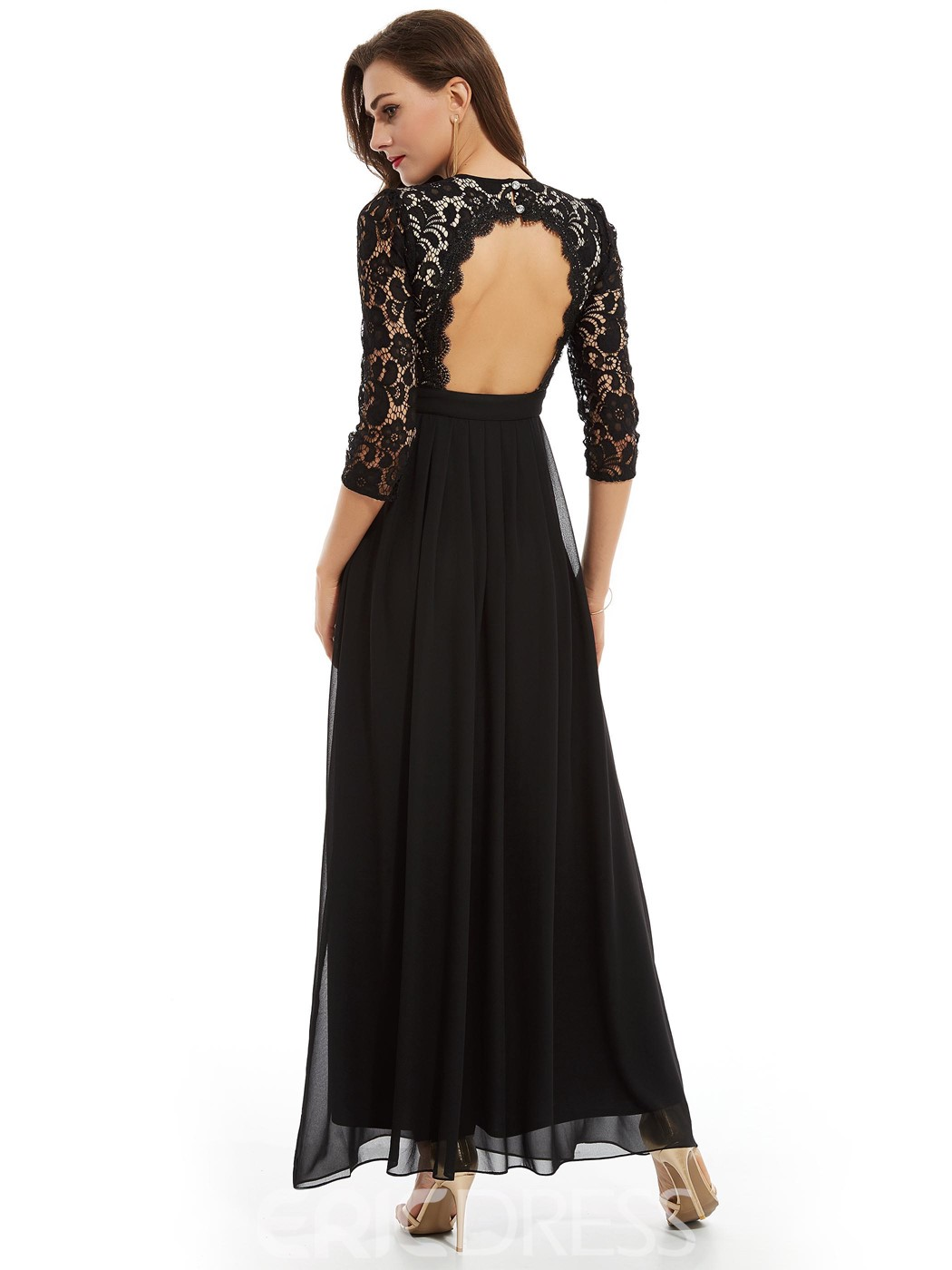 Ericdress Scoop Neck Backless A Line Evening Dress