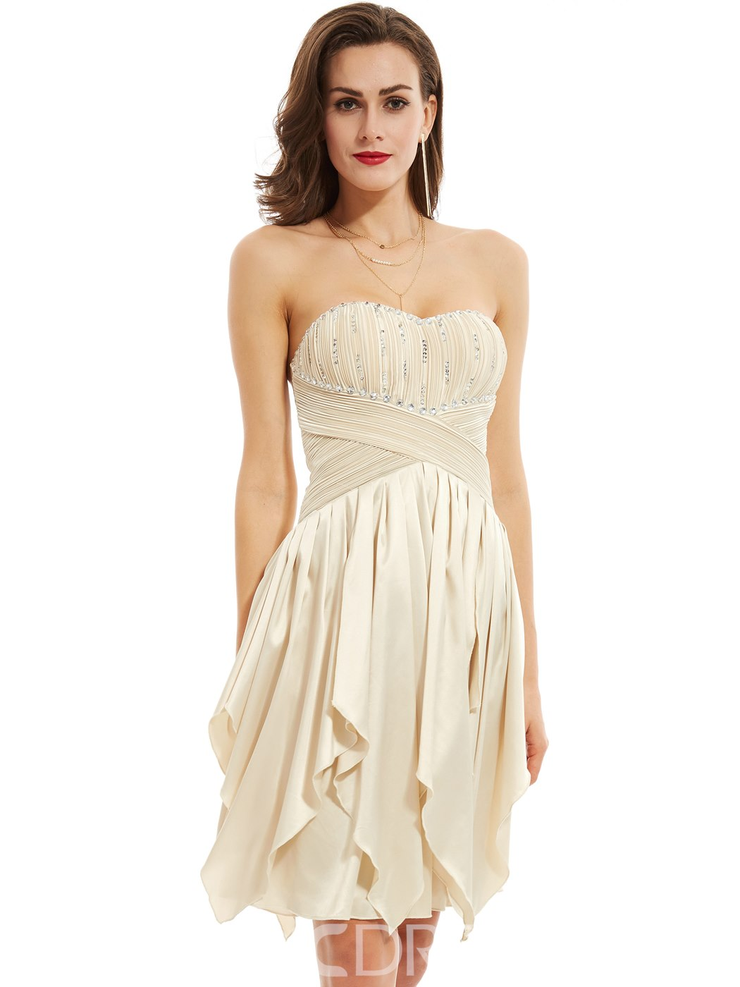 Ericdress Sweetheart Beaded A Line Cocktail Dress With Lace-Up Back