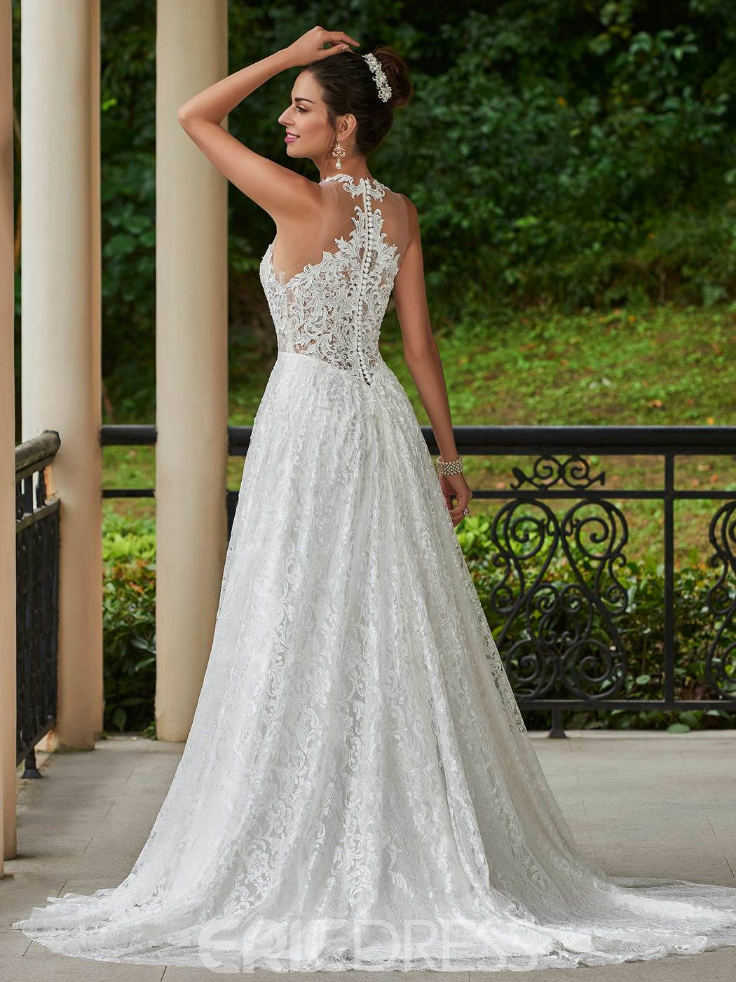 Ericdress Beautiful V Neck A Line Lace Wedding Dress