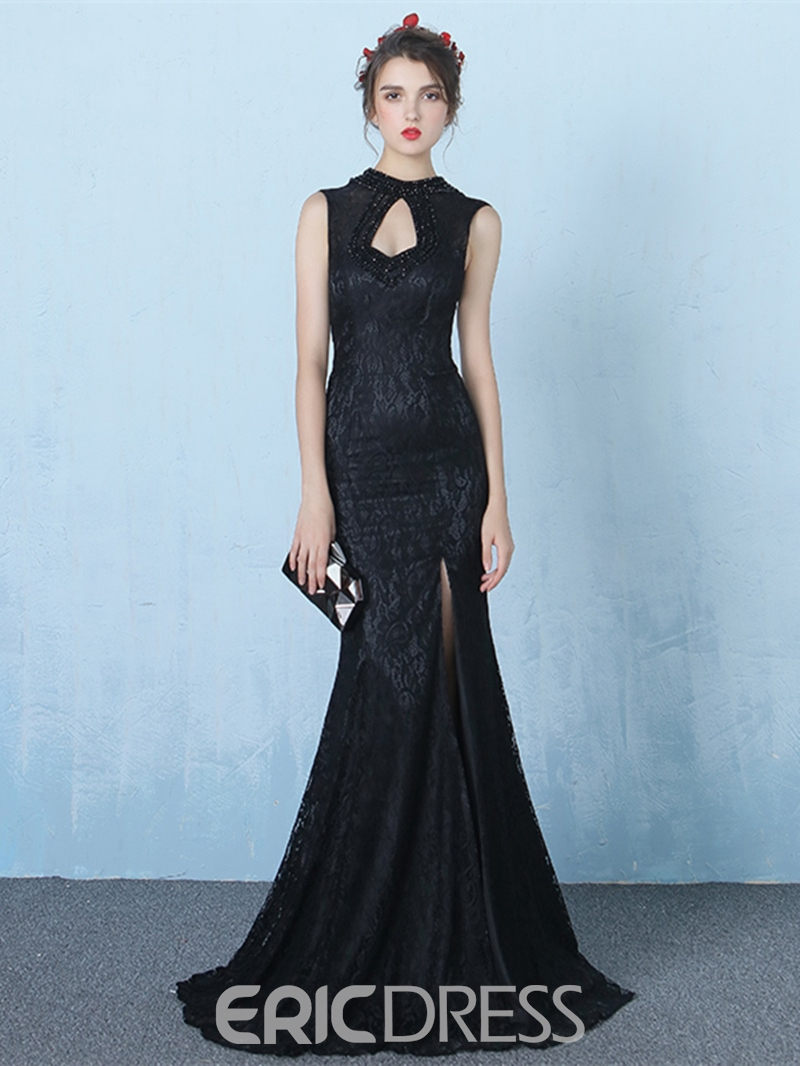 Ericdress Vintage High Neck Beading Lace Split-Front Mermaid Evening Dress