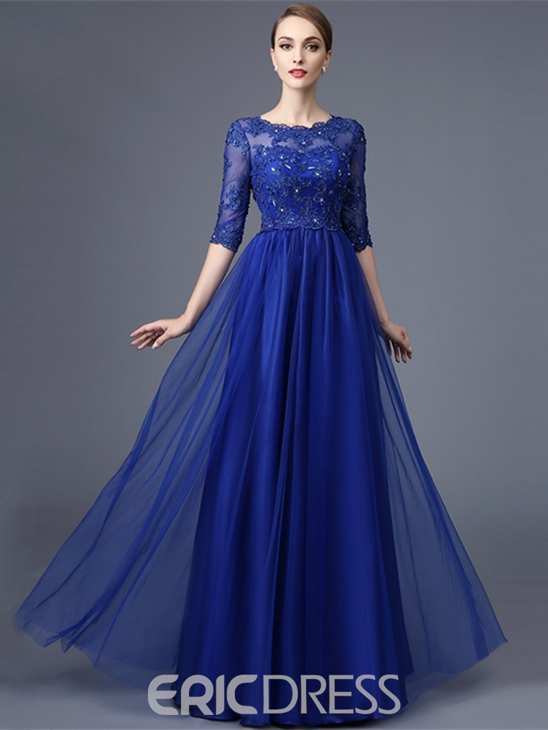Ericdress A Line Half Sleeve Lace Beaded Long Evening