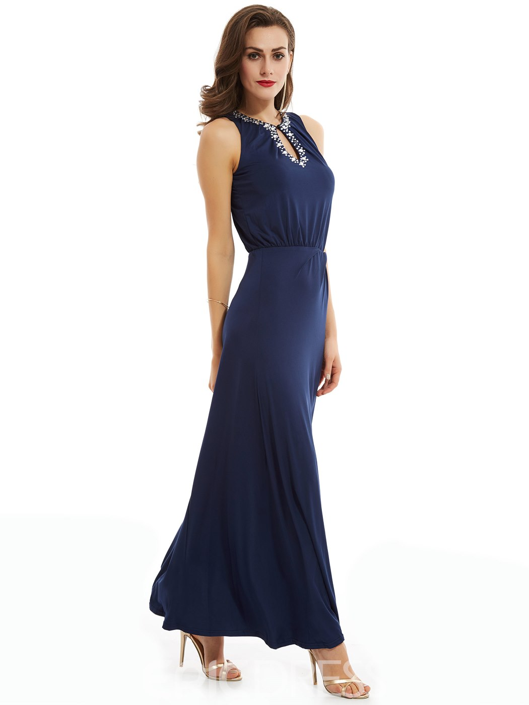 Ericdress Sheath Beaded Jewel Neck Ankle Length Evening Dress