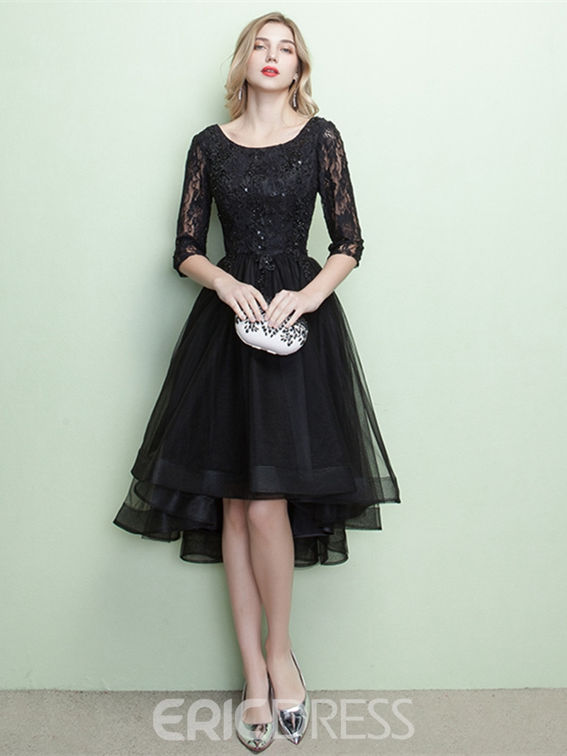 Ericdress A-Line Half Sleeves Lace Evening Dress With Appliques And Beading