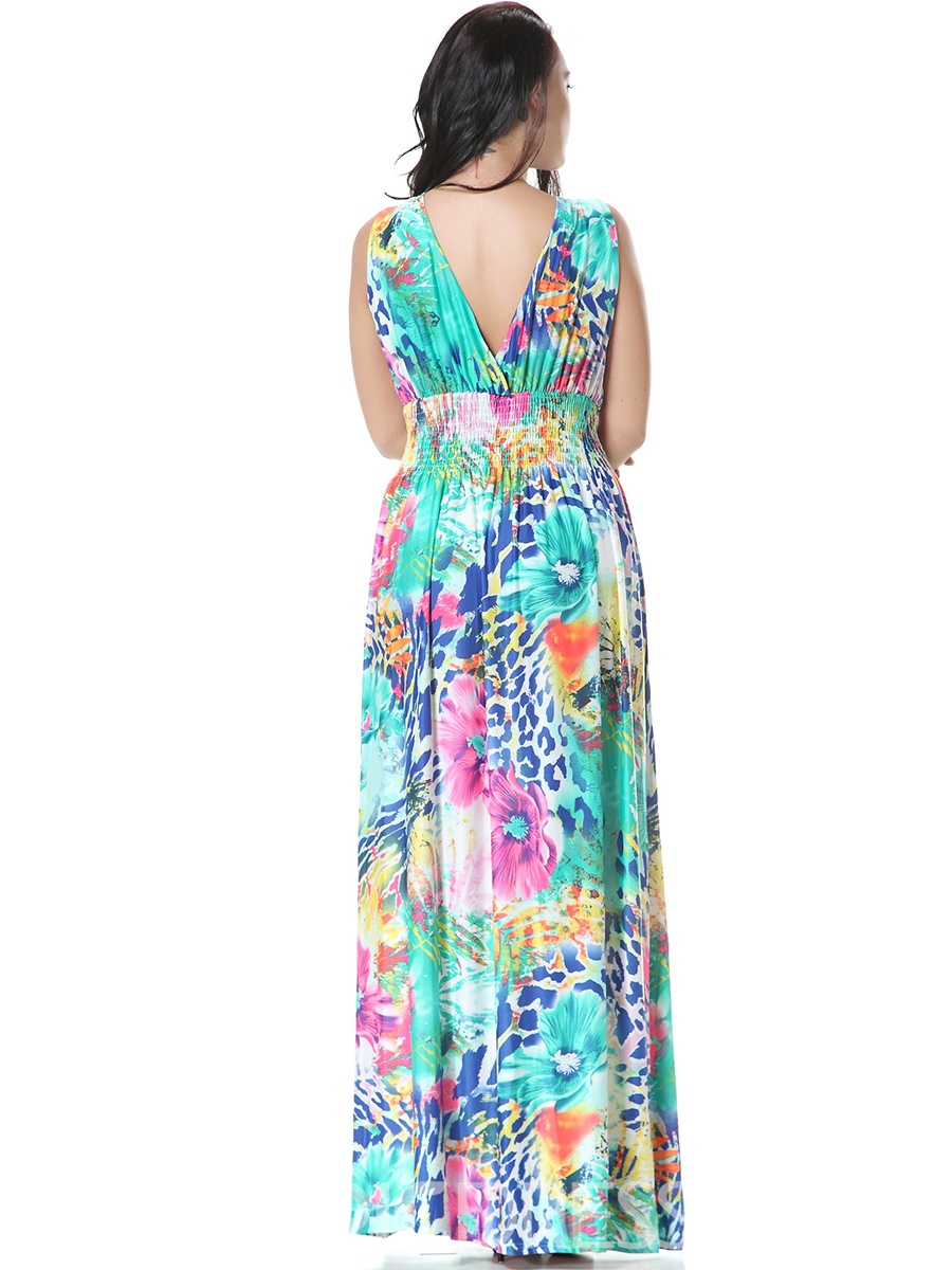 Ericdress Sexy Spaghetti Strap Back V-Neck Pleated Maxi Dress