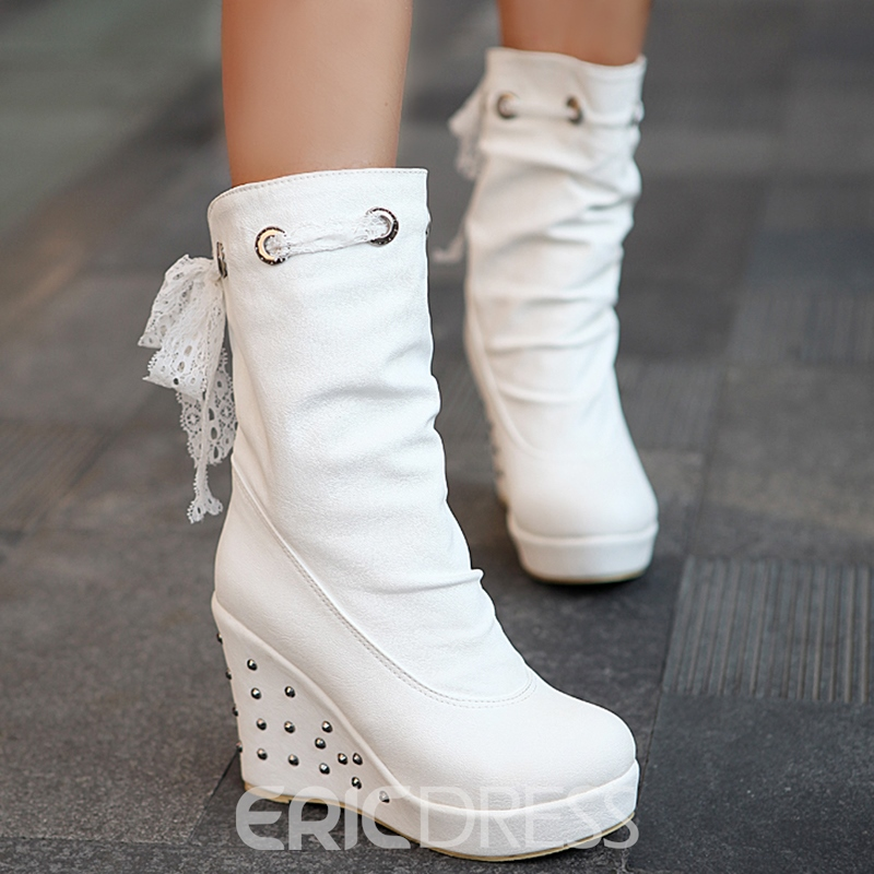 Ericdress PU Back Ribbon Rivet Wedge Heel Ankle Boots