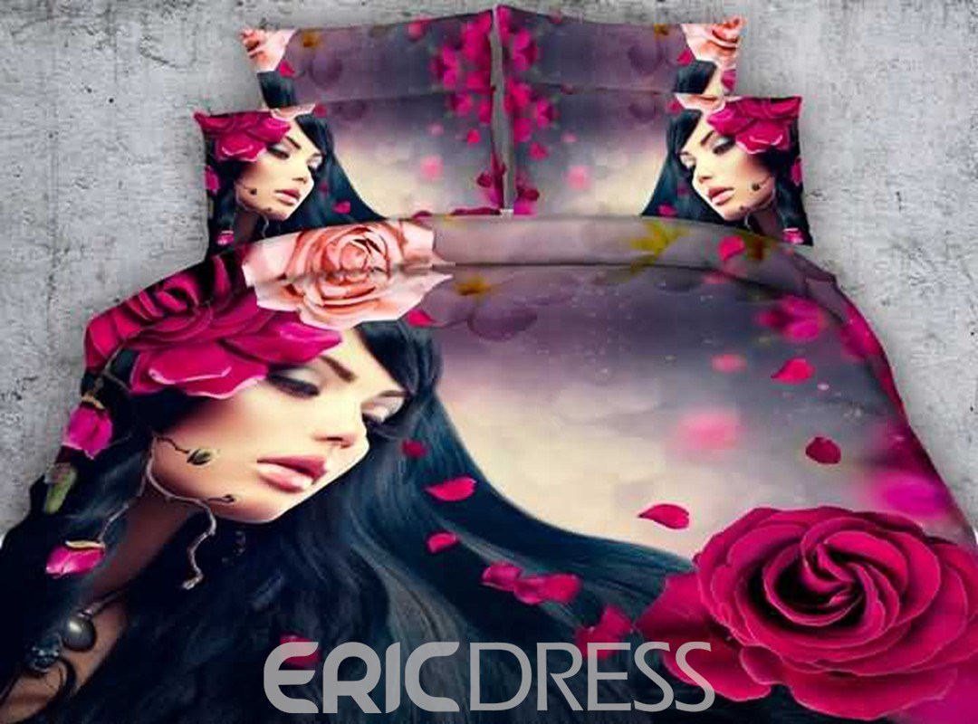 Vivilinen 3D Red Rose and Girl Printed Cotton 4-Piece Bedding Sets/Duvet Covers