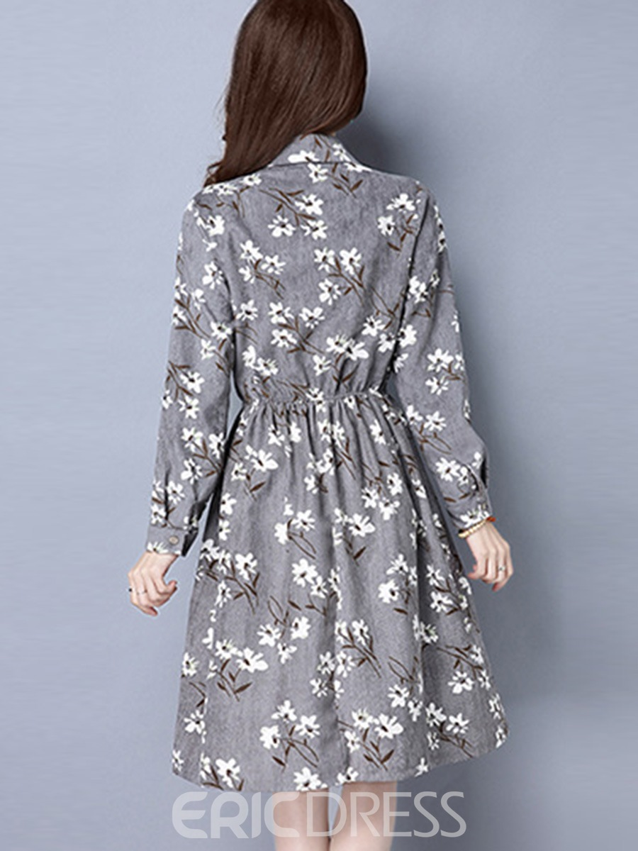 Ericdress Pastoral Lapel Floral Pleated Single-Breasted Casual Dress