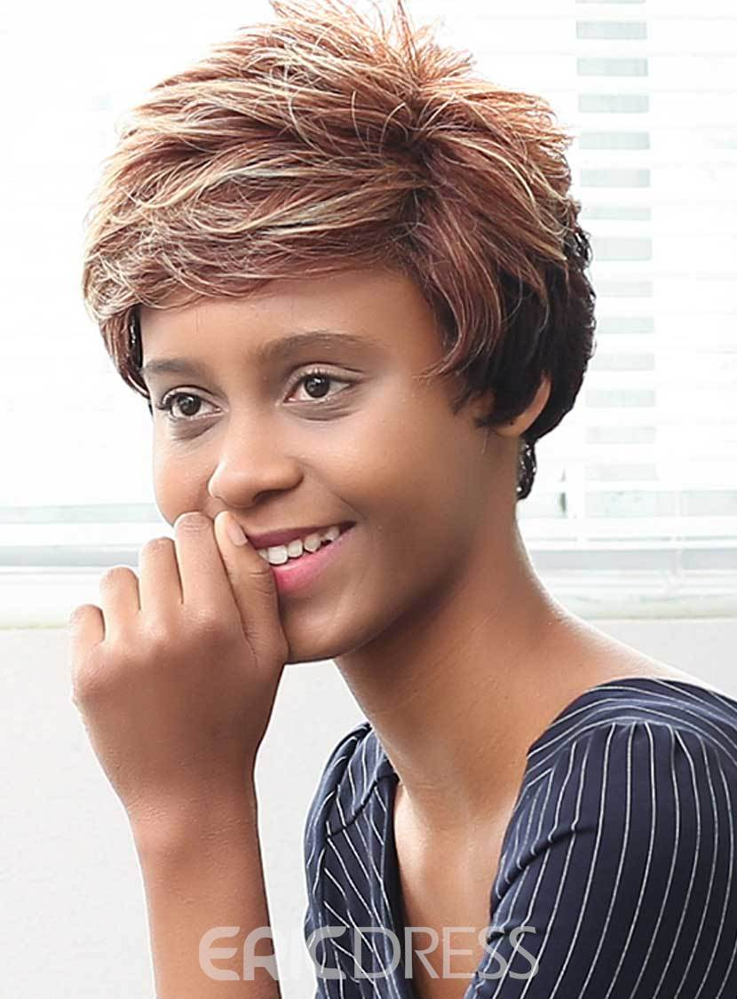 Ericdress Mixed Color Short Layered Curly Human Hair Capless Wigs 10 Inches
