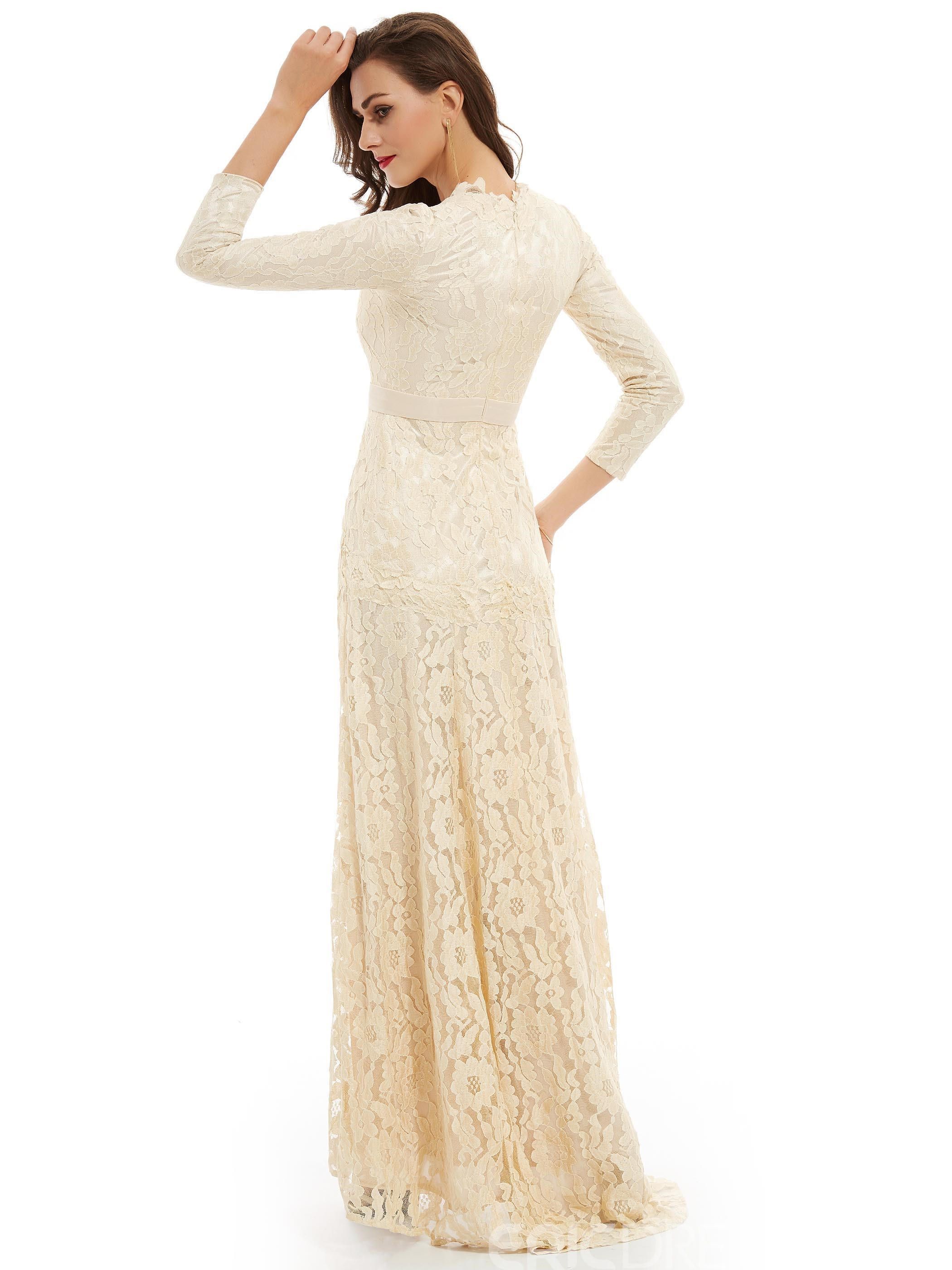 Ericdress A Line V Neck Long Sleeves Lace Long Evening Dress