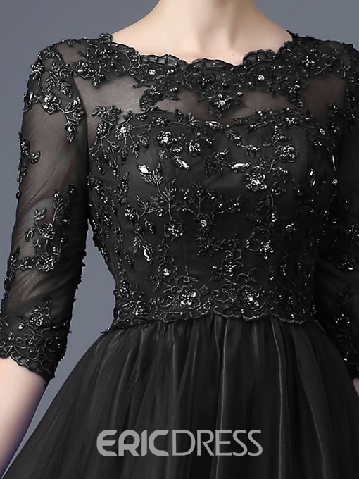Ericdress Appliques Beading Half Sleeves Evening Dress
