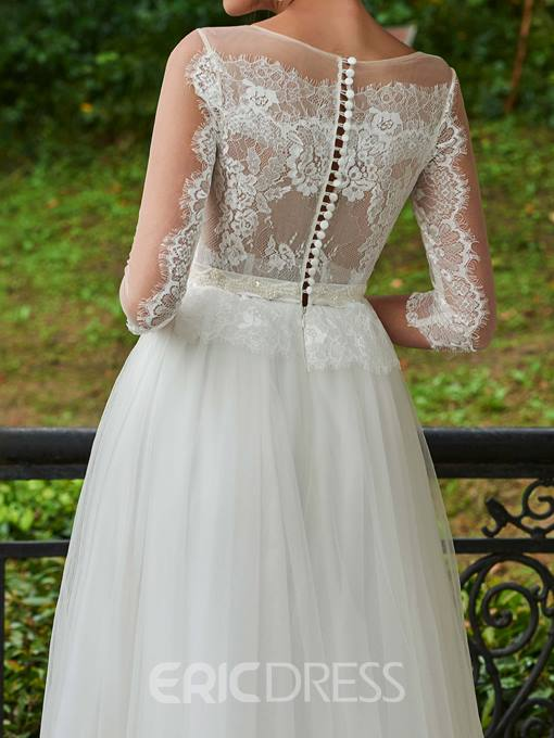Ericdress Beautiful A Line Lace Wedding Dress With Sleeves