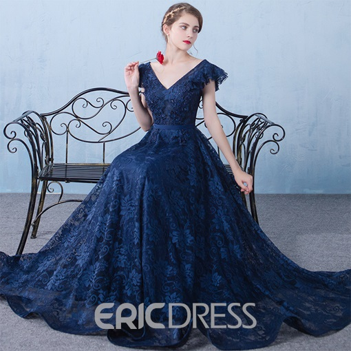 Ericdress Beading Cap Sleeves Lace Evening Dress