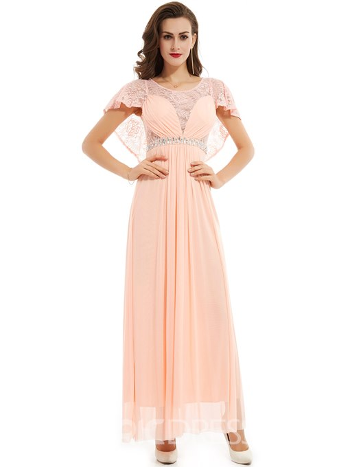 Ericdress A Line Short Sleeve Beaded Lace Evening Dress
