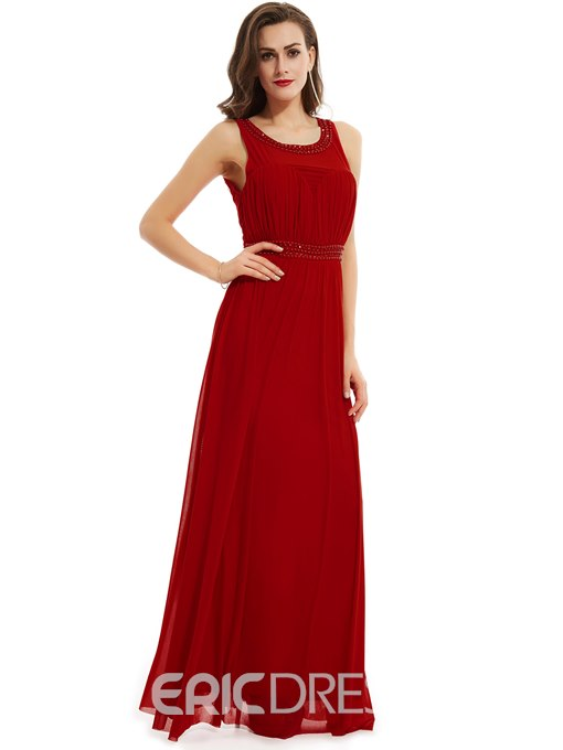 Ericdress Scoop Neck Beaded A Line Evening Dress With Zipper-Up