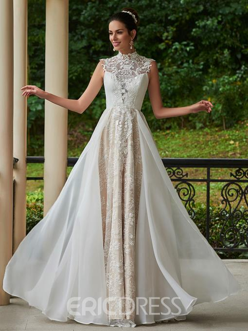 Ericdress Fancy High Neck A Line Lace Wedding Dress