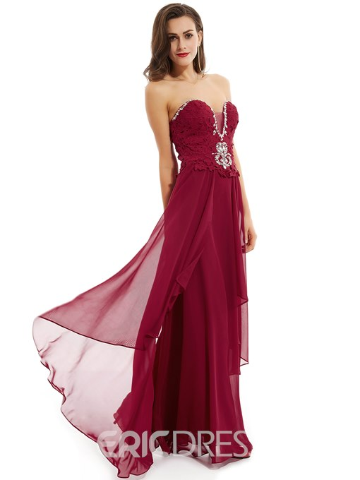 Ericdress Sweetheart Beaded A Line Evening Dress With Lace-Up Back
