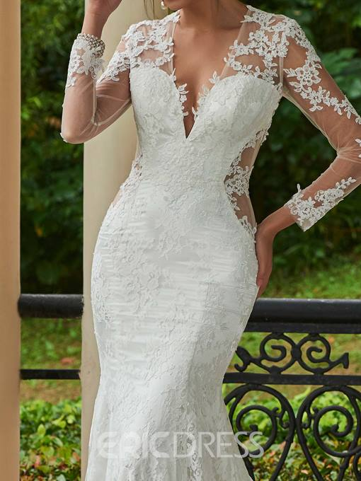 Ericdress Sexy V Neck Backless Lace Mermaid Wedding Dress