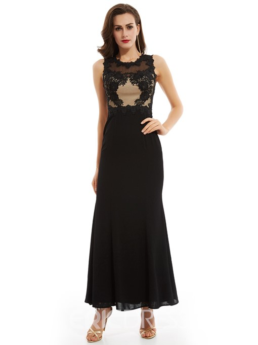 Ericdress Sheath Scoop Neck Zipper-Up Evening Dress