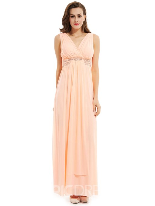 Ericdress V Neck A Line Long Evening Dress